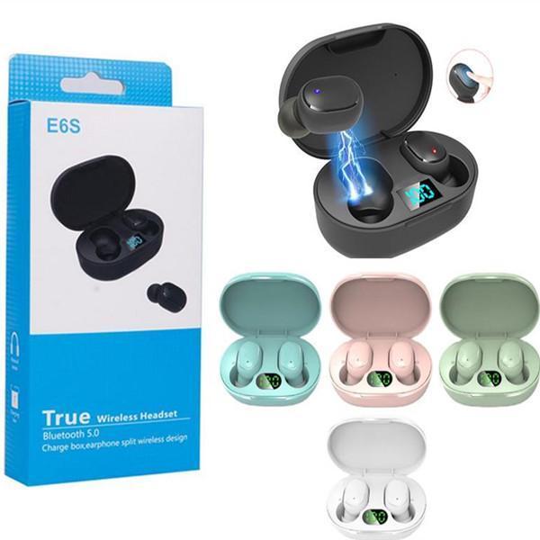 E6S TWS 무선 블루투스 이어폰 음악 스테레오 이어 버드 LED 디스플레이 V5.0 마이크가있는 헤드셋