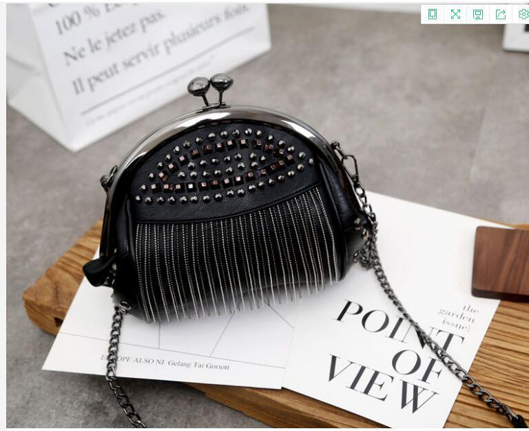 Women's bag 2021 new riveted, tassel, fashion shell bag Korean version one-shoulder, slanting,