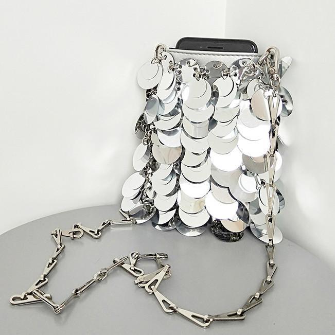 럭셔리 반짝 이는 스팽글 십자가 가방 2021 디자이너 체인 여성의 어깨 가방 작은 전화 지갑 파티 핸드백 크로스 바디