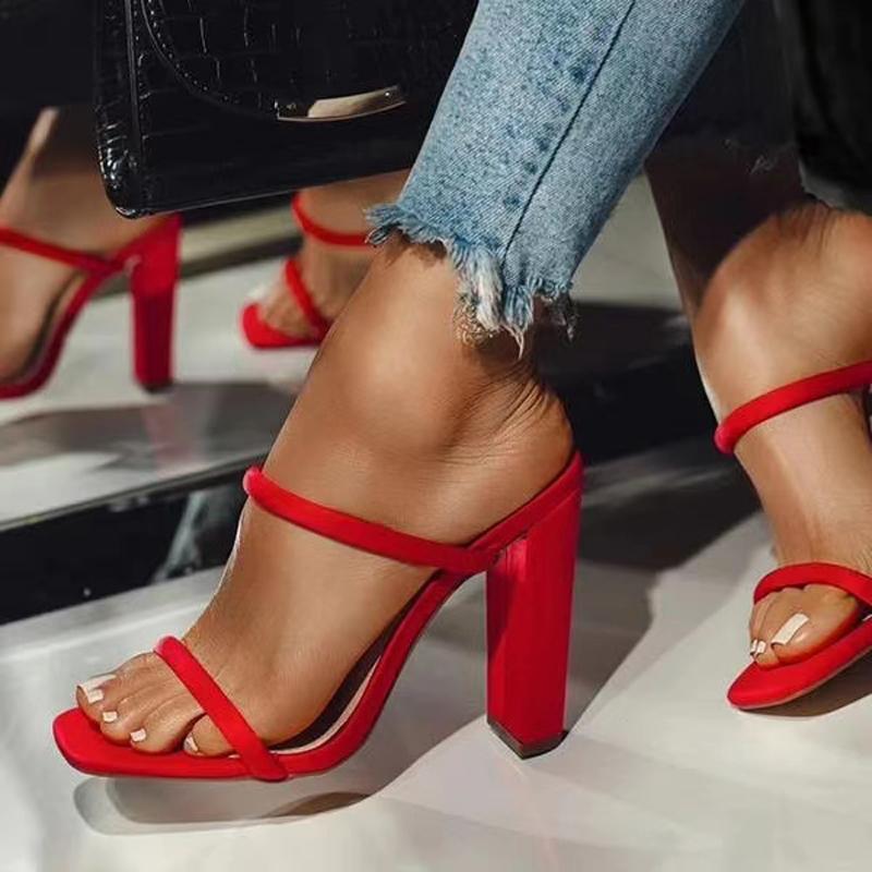 2021 chinelos femininos verão sandálias de salto alto ao ar livre cor sólida peixe boca plataforma sapatos zapatos mujer