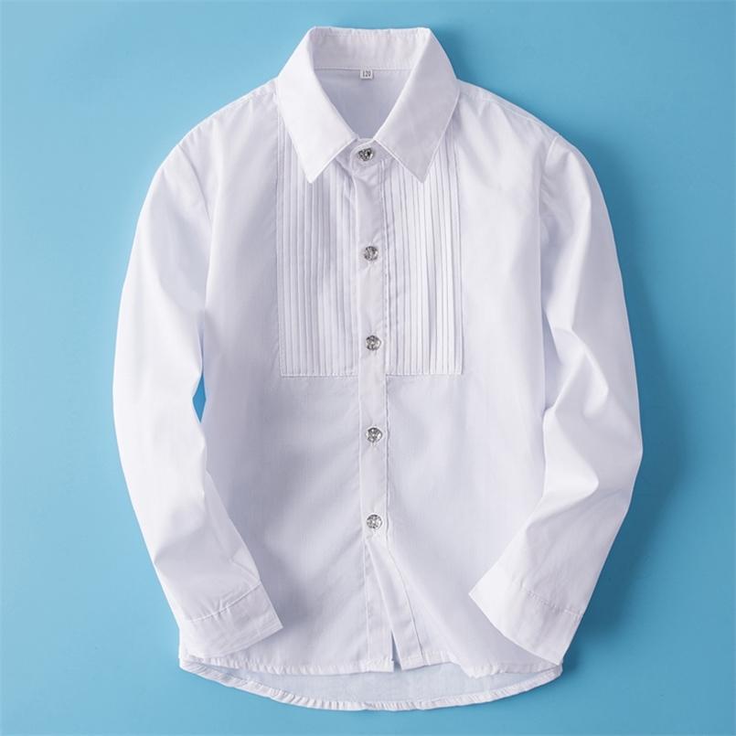 Niños Camisa de manga larga para niños Niños blancos Uniformes Escolares Schape Traje para la fiesta de bodas Caballeman Ropa 110-180cm 210713