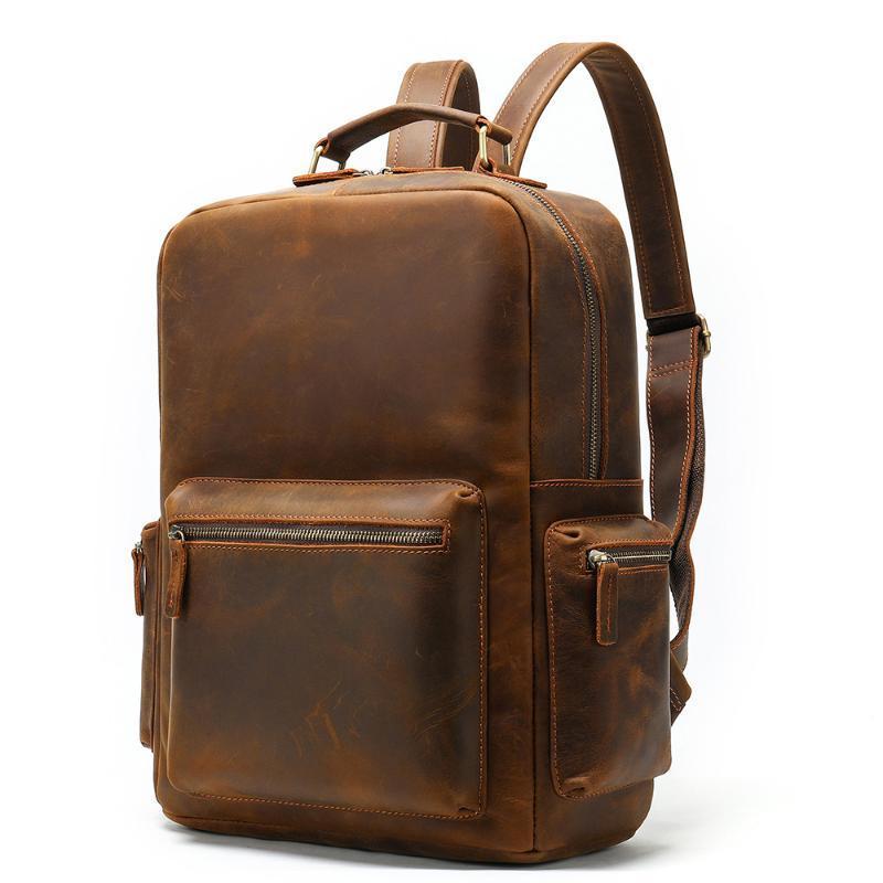 Backpack 100% Genuine Leather Men Backpacks Vintage Real Natural Student Boy Luxury Business Laptop School Bag Brand