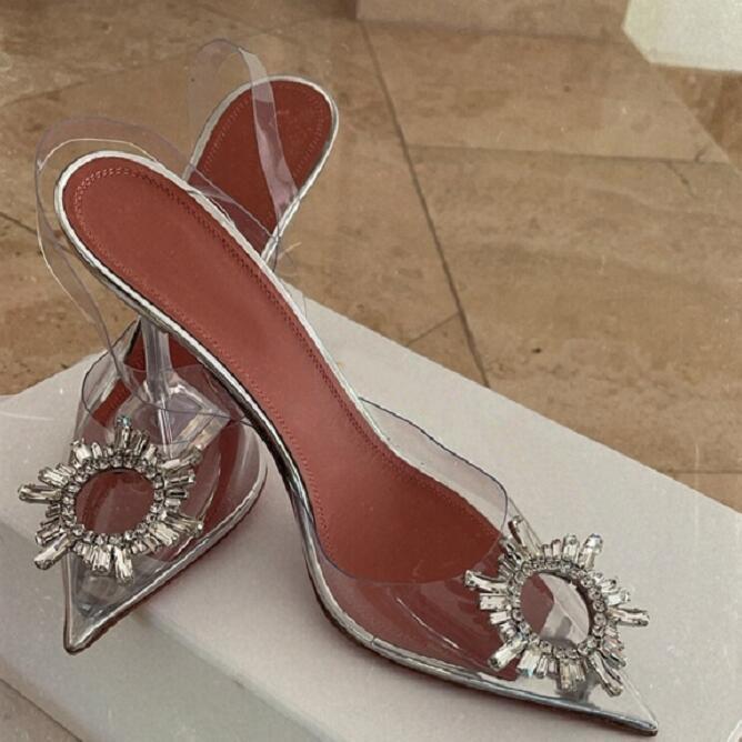 Düğün Ayakkabı Amina Paris Muaddi Begüm Cam Temizle PVC Sandalet Pompalar