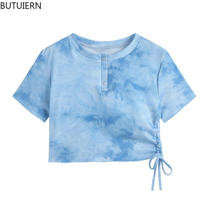 Women's Blue Tie Dye T Shirt Tops Drawstring Lace-Up Short Sleeve Retro Y2K Sheath Crop Tees High Street Fashion Top 2021 Summer T-Shirt