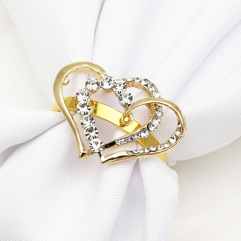 12 stücke Liebe Valentinstag Diamant Serviette Button Ring Metall Tuch Ringe