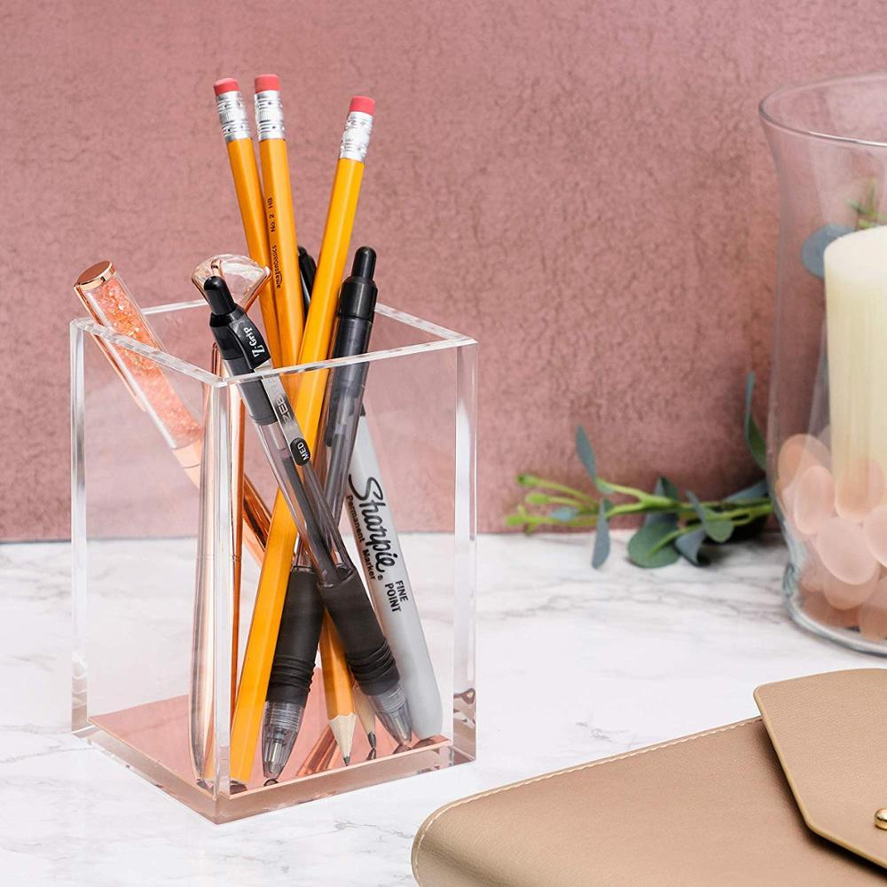Factory Custom Acrylic Pen Holder Office Desktop Acrylic Stationery Box