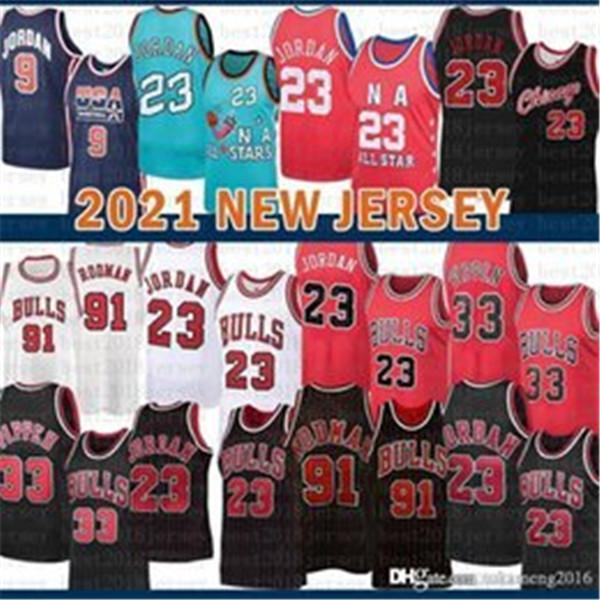 2021 Nova Jersey Basquete Bull Mens 23 Michael Scottie 33 Pippen Malha Retro Dennis 91 Rodman Juventude Kids Orange