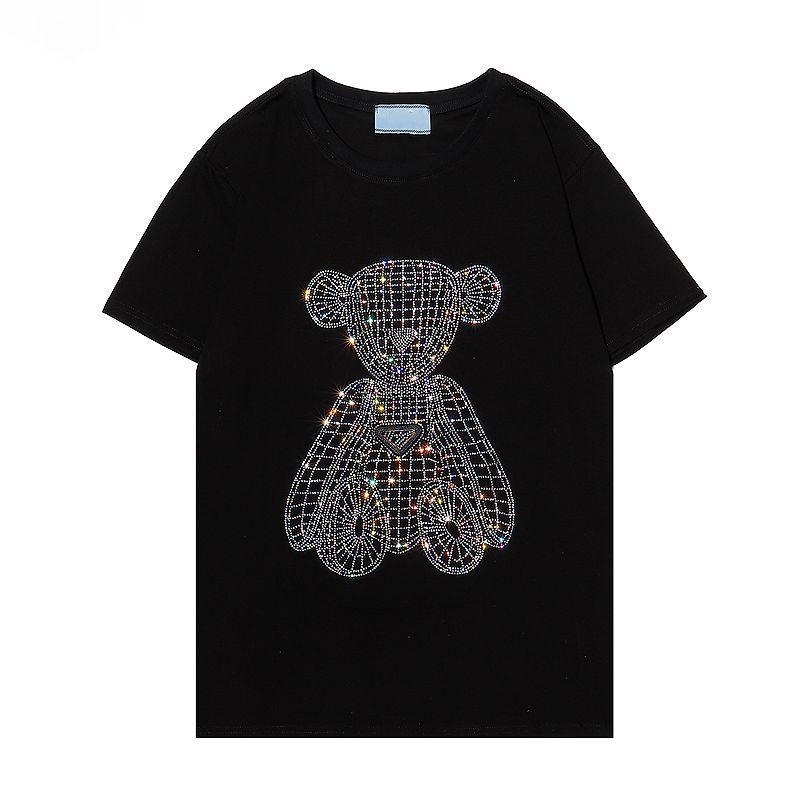 Hombre camiseta 100% algodón taladro oso talla grande talla suave camisetas hombre negro verano fresco top manga corta de alta calidad blanco