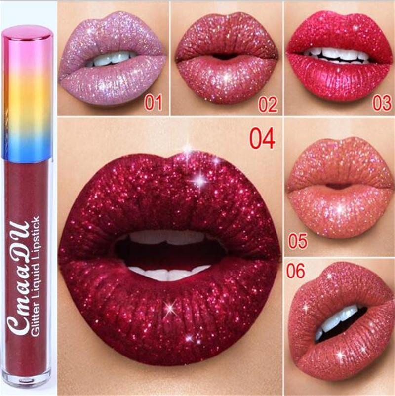 CMAADU 입술 메이크업 반짝이 플립 립글로스 벨벳 매트 틴트 6 색 방수 다이아몬드 플래시 쉬머 액체 립스틱