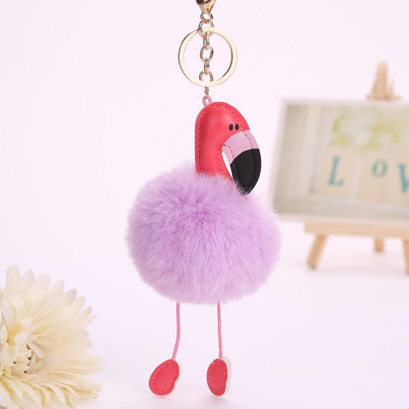 Flamingo Keychain Pu Couro Pássaros Chaveiro Chaveiro Pompom Chave Titular Capa Mulheres Saco de Mulheres Charme Acessórios Pingente Chaveiro 205 T2