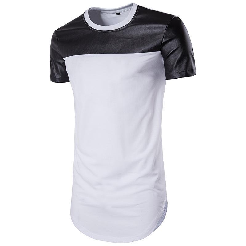 Männer Farbe Block Casual T-shirts T-Shirts T-Designer T-shirt Kurzarm Rundhals-Stylist Tees Herren Weiße Schwarze Streetwear Herren Leder Patchwork Vintage Tops B106