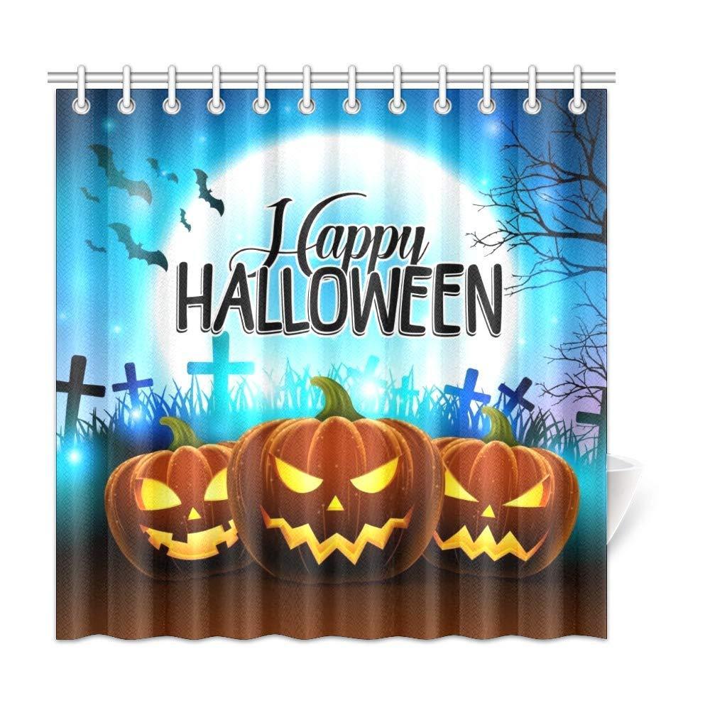 Xiucoo abóboras para feliz halloween casa casa de banho de poliéster tecido cortina de chuveiro conjunto 72 x 72 polegadas