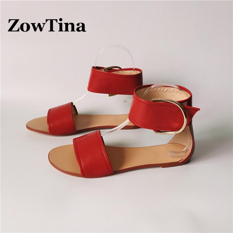 Women Flats Sandalias Red Leather Casual Summer Shoes Woman Buckle Ankle Warp Sandals Gladiator Flip Flops Fashion Zapatos Mujer