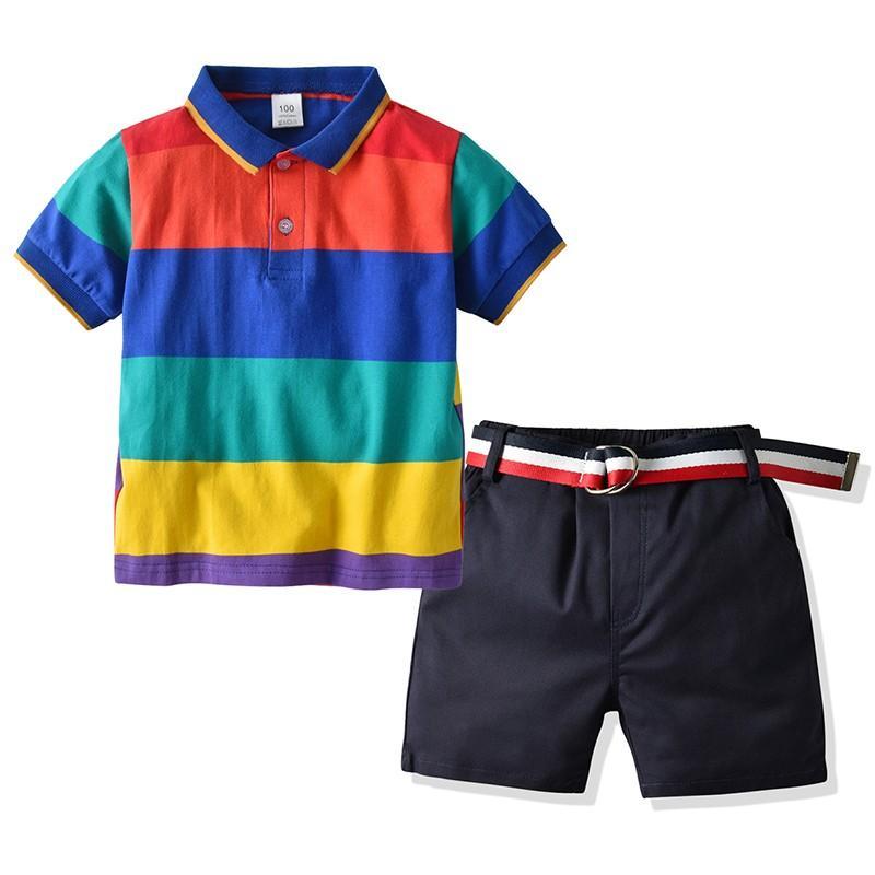 Детская одежда 2021 летние мальчики для мальчиков Две набор посылки рубашка хаки ремень шорты хлопка повседневный костюм детский костюм Высокое кабинета
