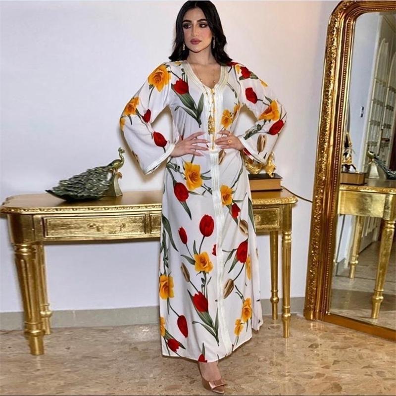 Сискакия Этнические Maxi длинное платье для женщин v шеи лента с длинным рукавом абая платья белый цветочный принт Дубай мусульманская арабская одежда 210319