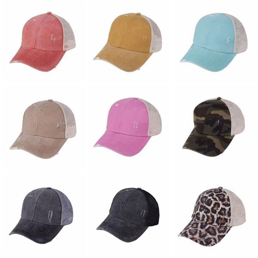 Cappelli coda di cavallo 9 colori lavato maglia posteriore Leopard Camo Hollow Disordy Bun Baseball Cappuccio camionista cappello Cyz3153