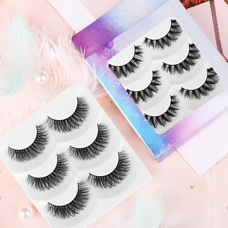 Nuevo 3 Parte Pestañas Falsas Wispy Natural Curl Makeup Fake Mink Peaches Pestañas Natural Eyelash Extension Herramientas de Belleza