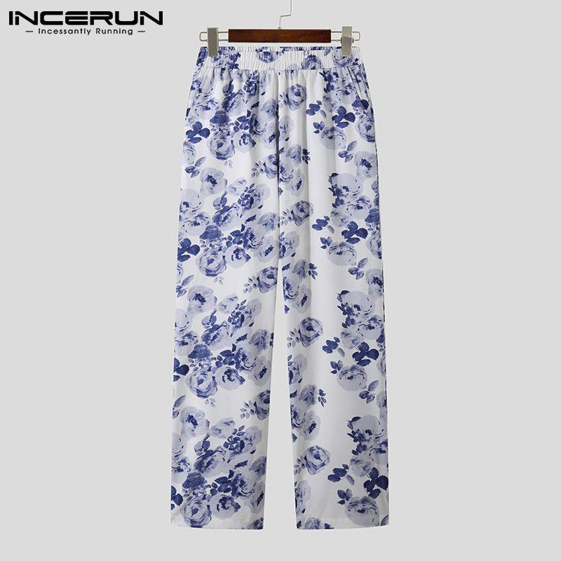 Pantaloni da uomo 2021 Uomini Casual streetwear Flower Stampato in vita elastica Joggers Gamba larga Pantaloni BAGGY Pantalones Hombre Incerun S-5XL