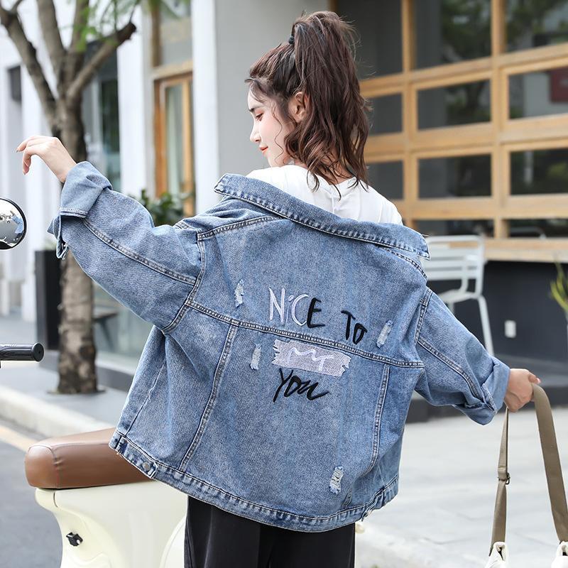 2021 chaqueta de mezclilla de bordado perforada para mujer coreano flojo bf versátil top corto