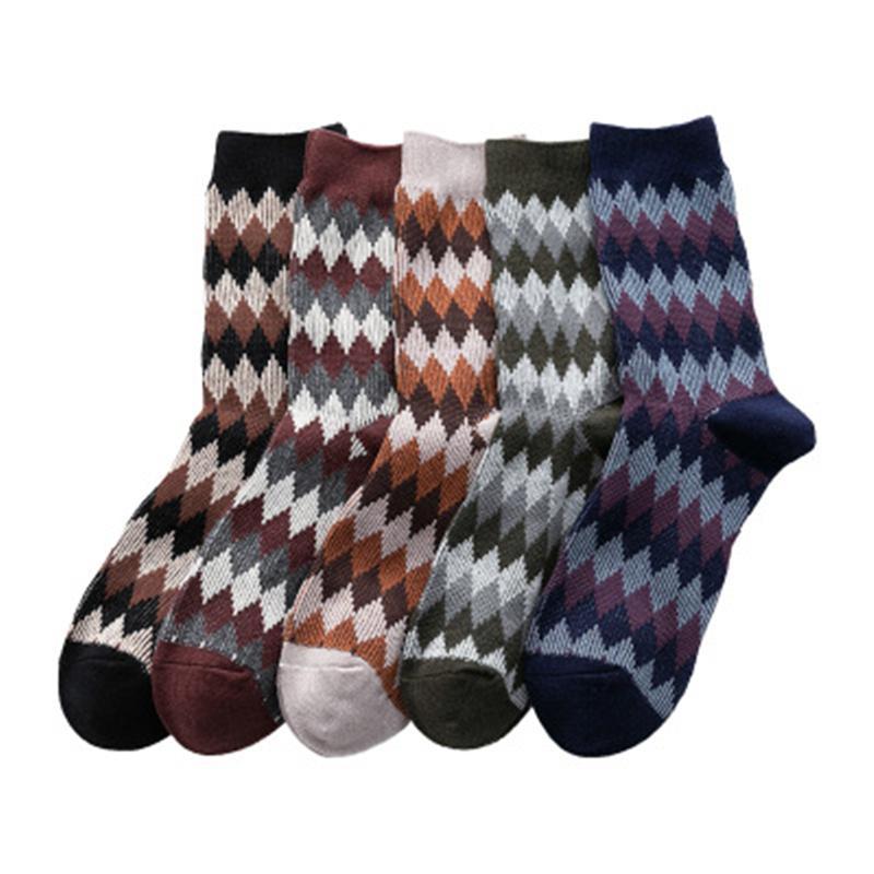 Mens Retro Rhombus Middle Tube Socks Fashion Trend Sports Stretch Business Socks Winter Male Casual Wave Mid Length Warm England Sock