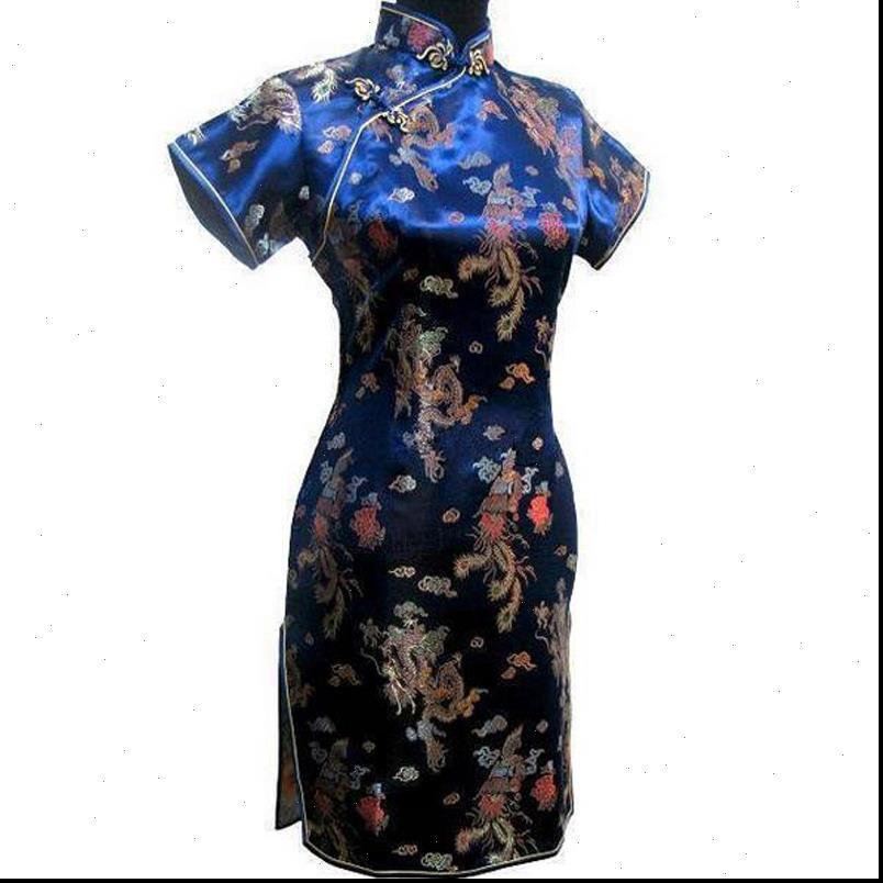 Navy Damen Kleider Blau Traditionelles chinesisches Kleid Satin Kurzer QIPAO Vintage Button Drache Cheongsam plus Größe 3XL 4XL 5XL 6XL