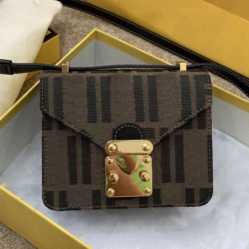 Vintage Crossbody Bag Women Small Handbag Purse Fashion F letter Canvas Leather Messenger Bags Golden Hasp Flap Handbags Accordion Pleats Design