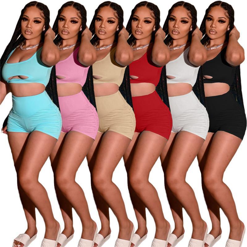 Женщины дизайнеры Одежда 2021 Летние трексуиты Двух частей набор шорты наряды без рукавов спортивная одежда бежевая спортивные брюки спортивный костюм