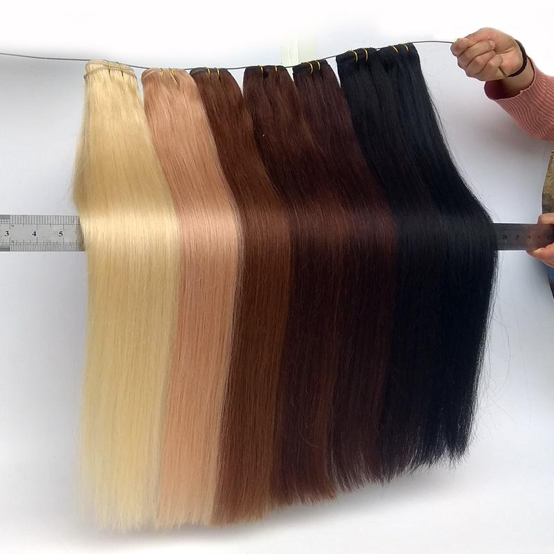 Menschliche Haarbündel Brasilianische Jungfrau-Nagelhaut Ausgeglichene Persure de Cheveux Derzeit Natürliche Schwarz Hellbraun Bleach Blonde 20 Farben erhältlich 100G / Bündel 12-26inch