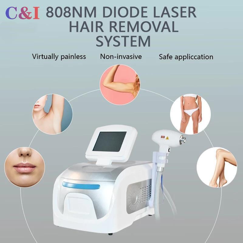 2021 Diode Portable 808nm Diode Semiconducteur Semiconducteur Machine d'épilation de laser 20 millions de coups Rapide permanent éliminer les cheveux sur les aisselles au dos des jambes bras de bikini ligne