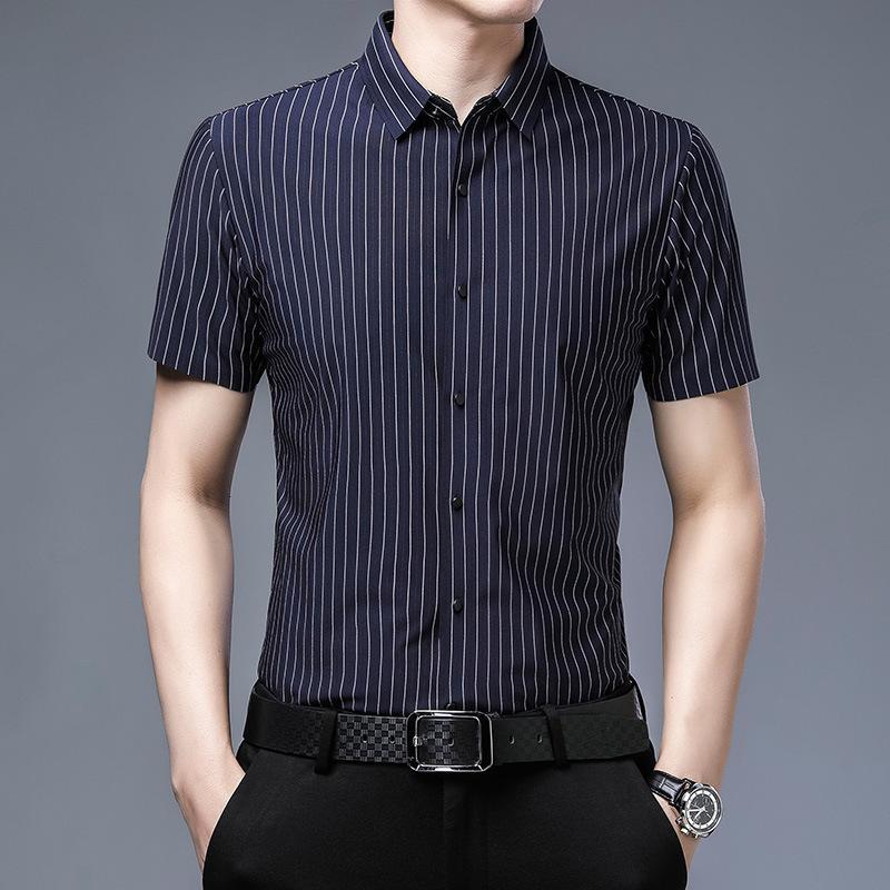 Hombre 2021 Camisa envejecida de mediana edad Ocio Flower Child Sin Tendencia de hierro Camisa de solapa de manga corta 60