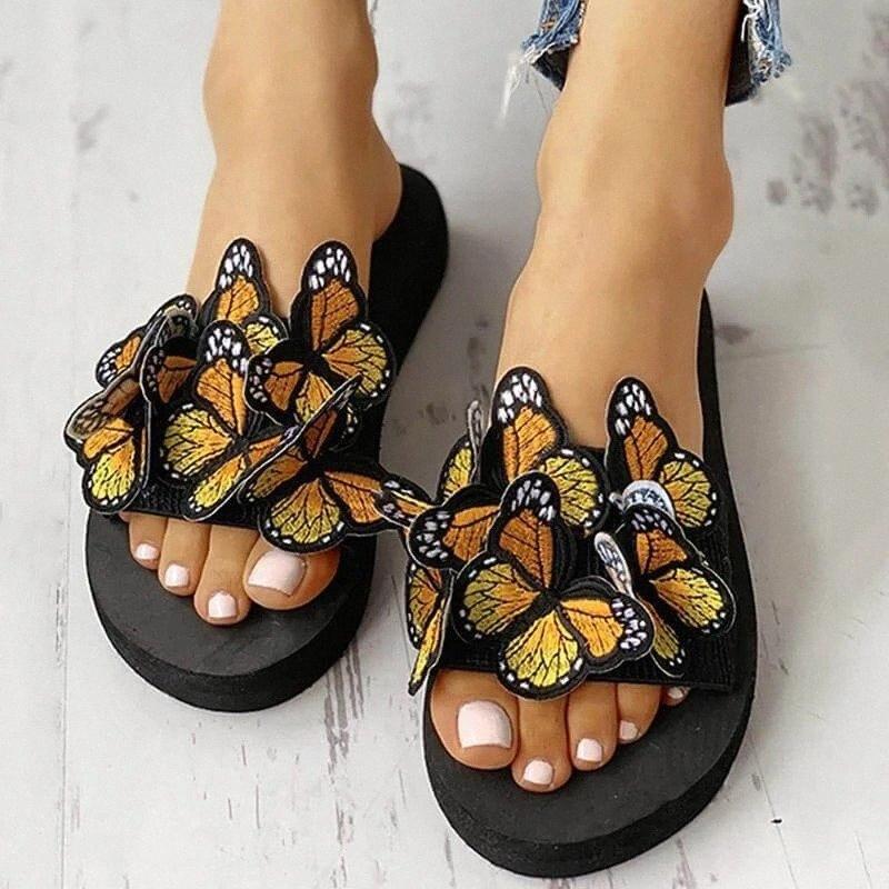 2020 Zapatillas de mariposa de dibujos animados Mujeres Sandalias clásicas de punta abierta Bohemia Summer Soft Bottoms Beach zapatos de playa para mujer E97i #