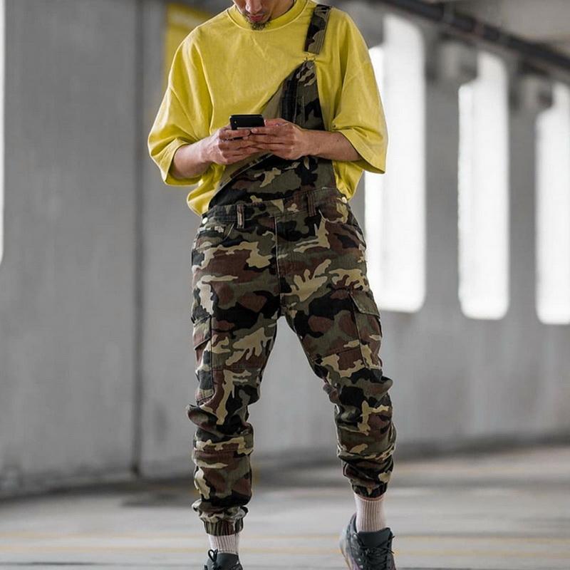 Calças masculinas 2021 Homens Moda Jeans Jumpsuit Casual Camuflagem Impressão Jumpsuits Macacões Militar Tracksuit Camo Suspender
