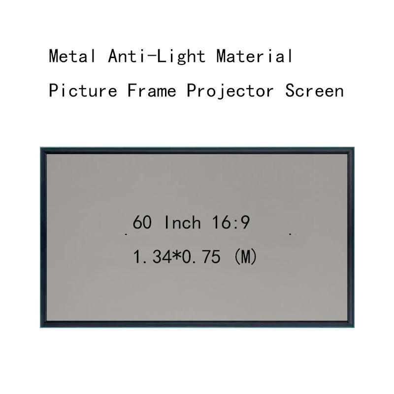 Écrans de projection minces 60Inch 16: 9 Matériau d'image monté sur le mur MATCH Anti-Light Matériau de 4,5 cm HD Écran de projecteur