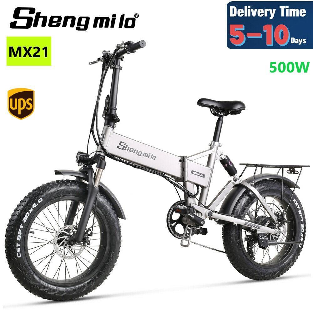 UE Shengmilo MX21 Ciudad de 20 pulgadas Ciudad plegable de 500 vatios de montaña de 500 vatios de la bicicleta de la bicicleta de la grasa 48V E-Bike Playa Cruiser