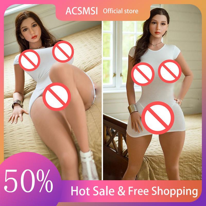 ACSMSI 163 cm 100% Gerçek Güzellik Öğeleri Silikon Seks Bebek Tam Vücut Yetişkin Oral Erkekler Için Gerçekçi Aşk Vajina Anal Büyük Ass