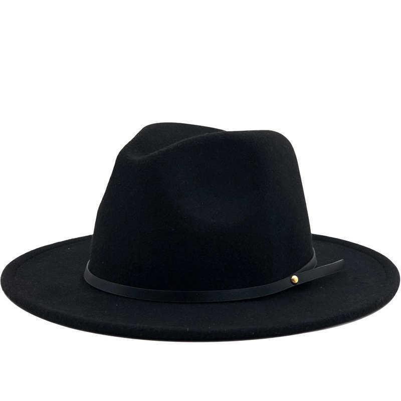 Einfache Frauen Männer Wolle Vintage Gangster Trilby Filz Fedora Hut mit breiter Krempe Gentleman Elegant Dame Winter Herbst Jazz Caps 210623