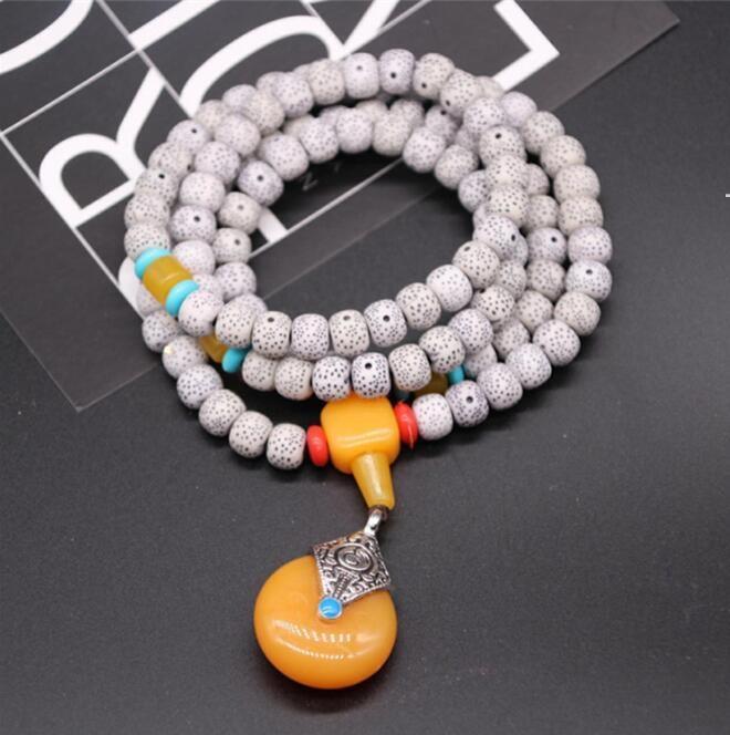 Collana stella luna bodhi collane gioielli pipal albero seme 108pcs imitazione beeswax braccialetto pendente OWB7431