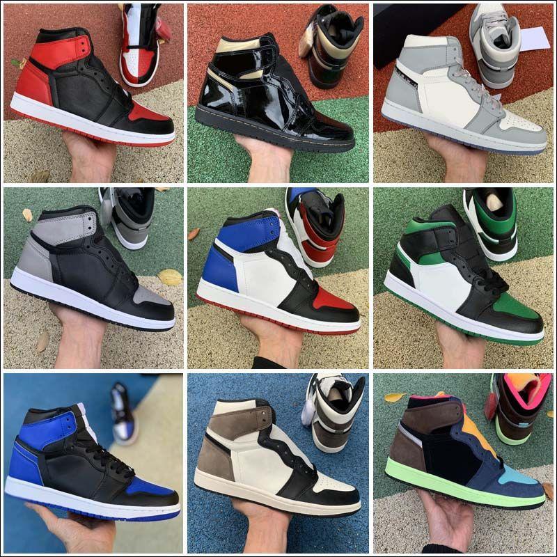Kadın Erkek Açık Ayakkabı 1 S 1 I Yüksek Koyu Mocha Siyah Metalik Altın UNC Işık Duman Gri Chicago Kraliyet Toe Spor Sneakers Boyutu 36-46