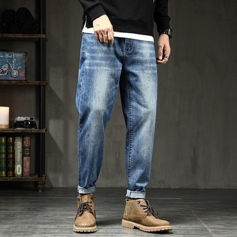 Streç Denim Pantolon Büyük Büyük Boy 5XL 6XL 7XL Kot Siyah erkek Adam Artı 44 46 48 Harem Pantolon Sonbahar Elastik Mavi