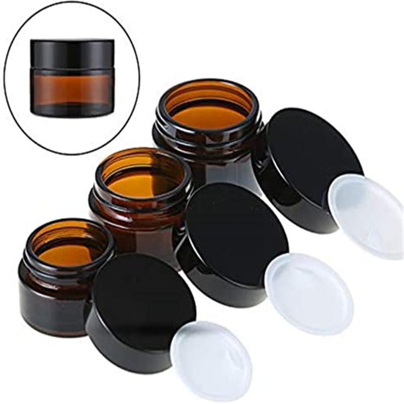 5G 10G 15G 20G 30G 50G Garrafas de vidro âmbar para creme de creme frasco recarregável garrafa de armazenamento de maquiagem cosmética com tampa de parafuso e revestimento interno