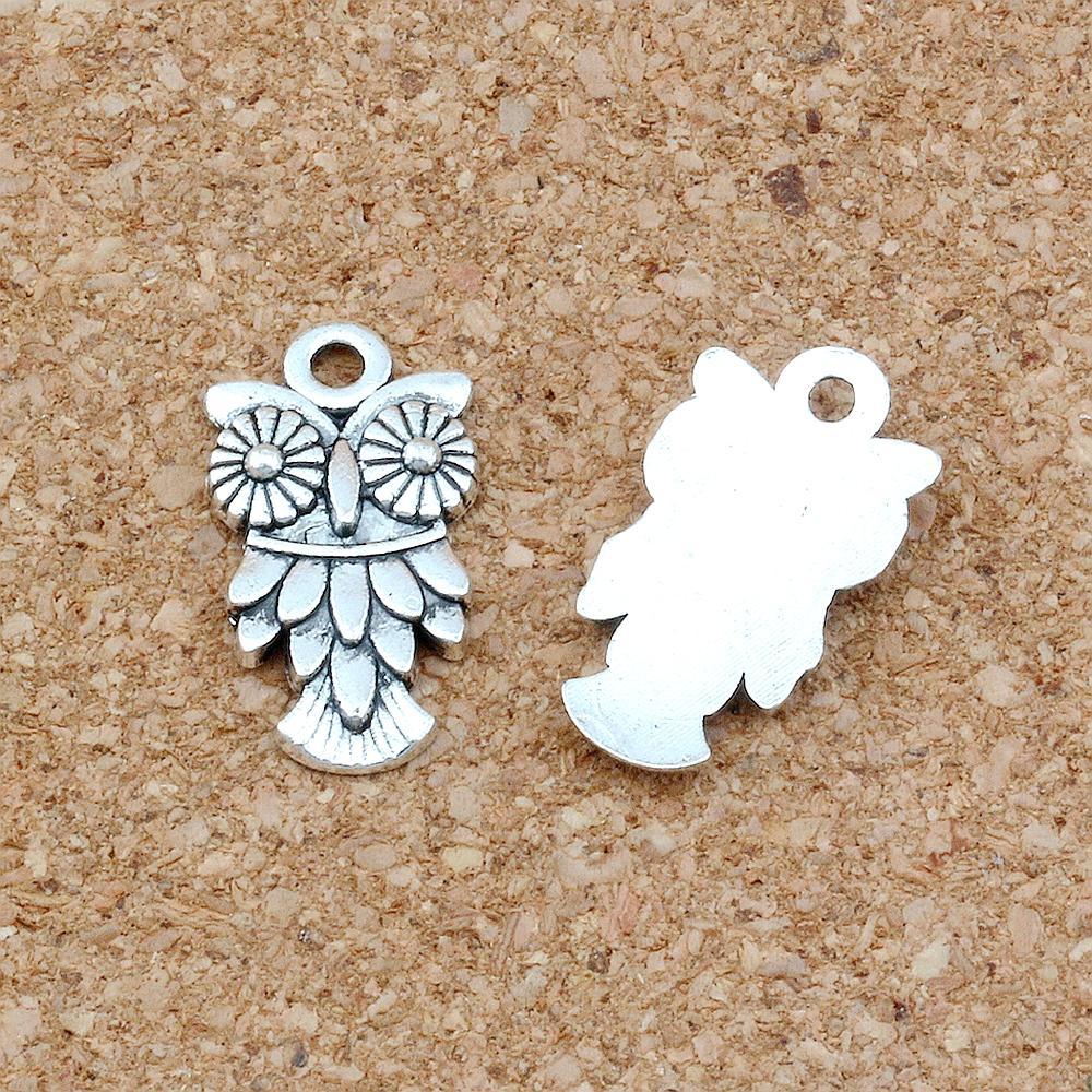 100pcs / lot Antique Argent Hibou Bird Charms Pendentifs pour la fabrication de bijoux Crétations de bracelet 10.5x20mm A-234