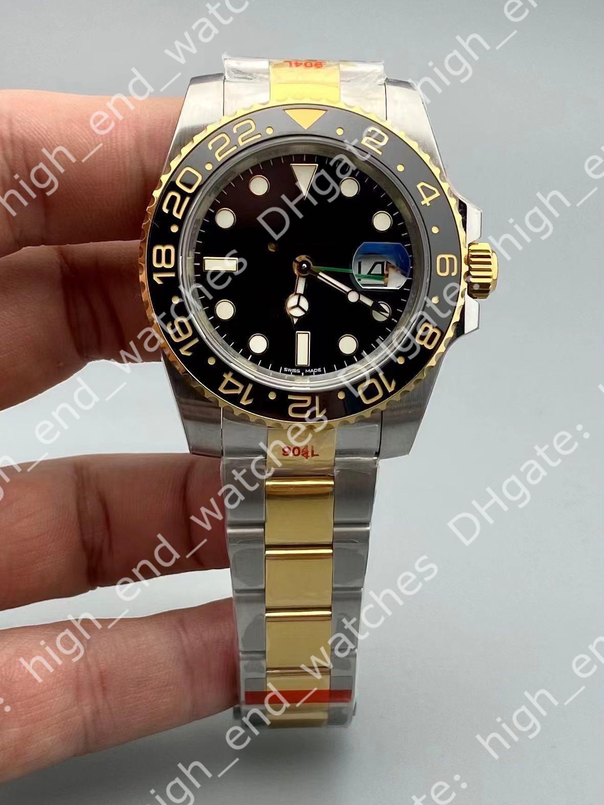 N V11 men's watches 40x13mm GMT 3186 automatic mechanical movement Montre DE Luxe 904L bidirectional ceramic rotating bezel Luxury Watch