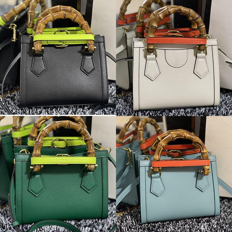 Lujos de alta calidad Mujeres Diana Bag Brown Negro Cuero Crossbody Bolsas Calfskin 6 Colores Lady Bolso Mini bolso con caja