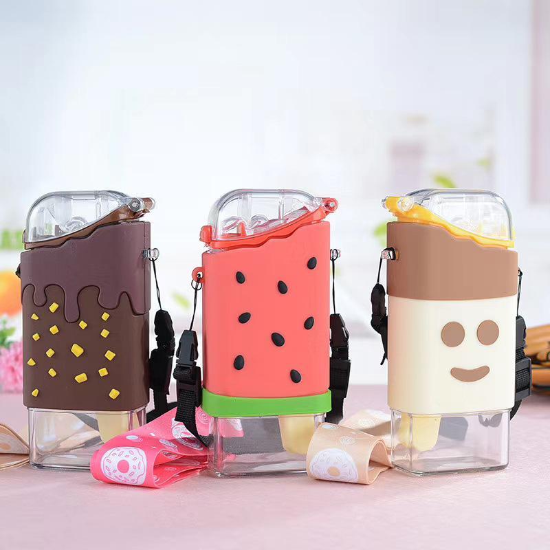 Botella de agua de helado de donut lindo de verano con paja creativa cuadrada de sandía de sandía portátil a prueba de fugas tritan
