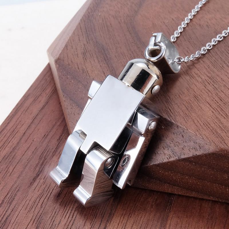 Collar colgante de robot flexible de acero inoxidable Collar de cadena de mujeres lindas para el partido de regalos Accesorios de joyería de moda