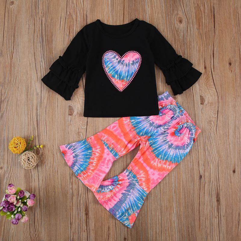 아기 어린이 1-4 년 어린이 소녀 옷 플레어 긴 소매 심장 인쇄 탑 넥타이 염색 플레어 팬츠 2pcs 의류