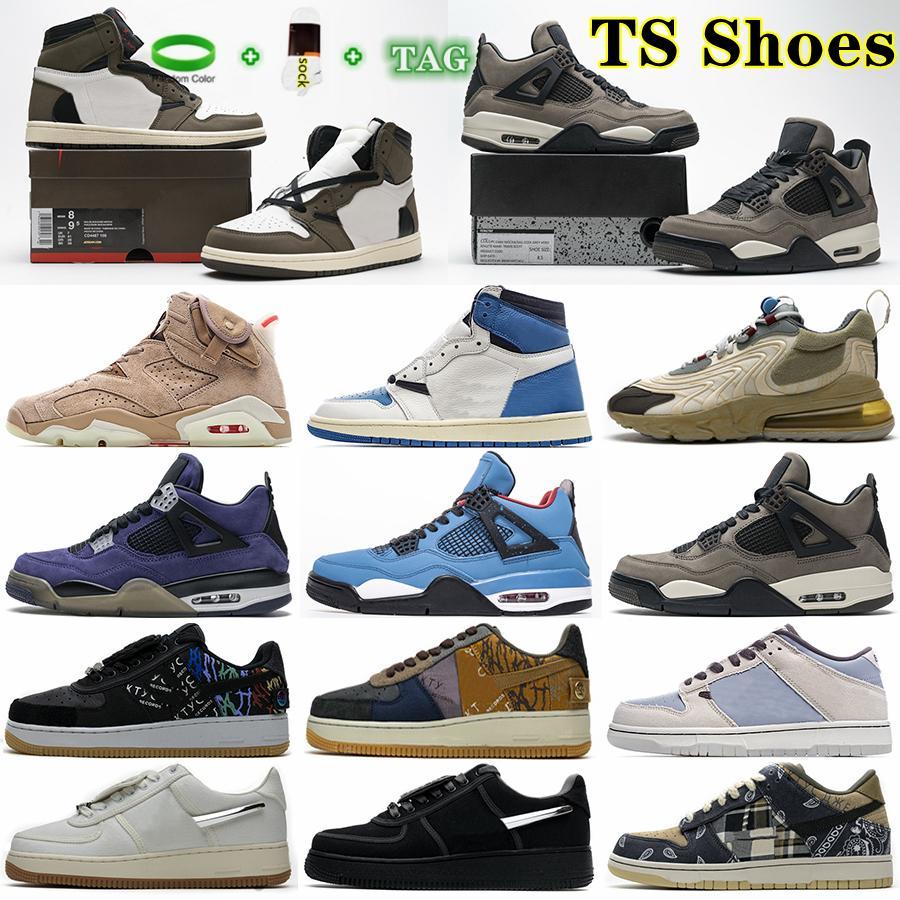 2021 Yüksek Kaliteli Adam Kadın Travis X 1 S Koşu Ayakkabıları OG TS SP 1 Düşük Erkekler 6 S Basketbol Ayakkabı Yelken Karanlık Mocha Üniversitesi 4 S Açık Sneakers ile Kutusu