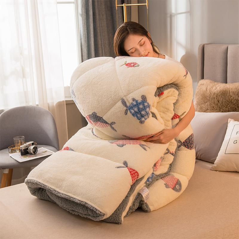 Bettdecken setzt reine Farbe verdicken Winterküche imitieren Lämmer Wolle warmes Bett Bettdecke Cashmere-Quilt AB Side Camelhair Patchwork Quilts FL