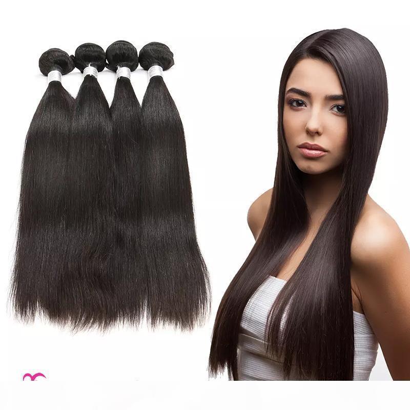 Extensões de cabelo humano cabelo brasileiro reto unprocessed cabelo virgem tecer pacotes natural cor 4 pacotes 400g podem ser tingidos podem ser permed