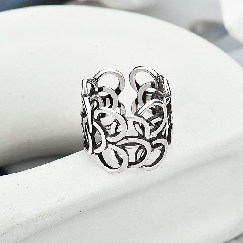 Minimalist 925 make old wide face Japanese and Korean ins net red exaggerated index finger ring